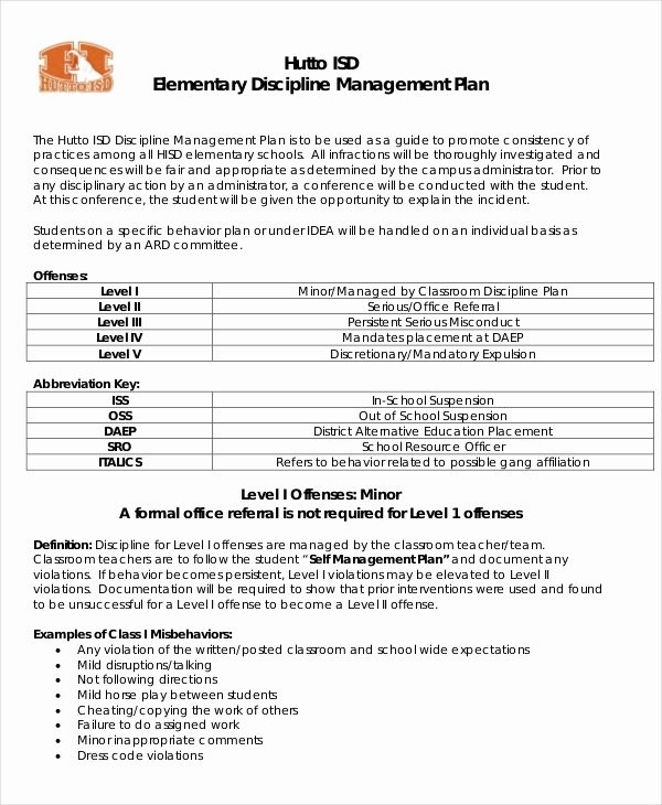 Classroom Management Plan Template Elementary Beautiful 11 Classroom Management Plan Templates Free Pdf Word