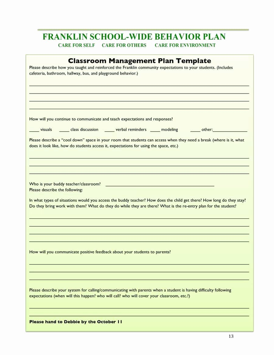 Classroom Management Plan Template Elementary Fresh Classroom Management Plan 38 Templates & Examples