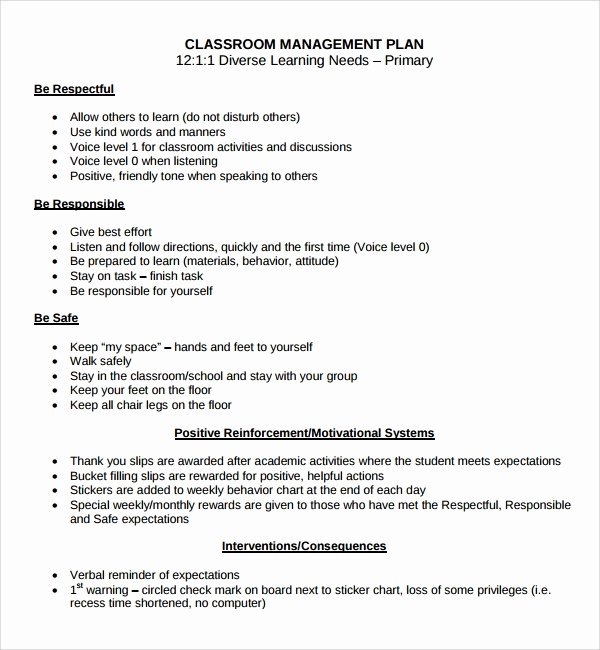 Classroom Management Plan Template Elementary Inspirational Sample Classroom Management Plan Template 9 Free