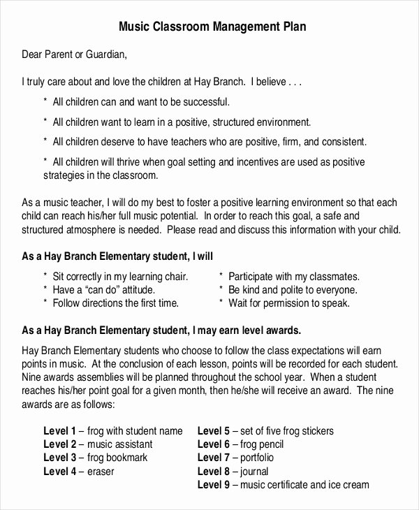 Classroom Management Plan Template Elementary Lovely 11 Classroom Management Plan Templates Free Pdf Word