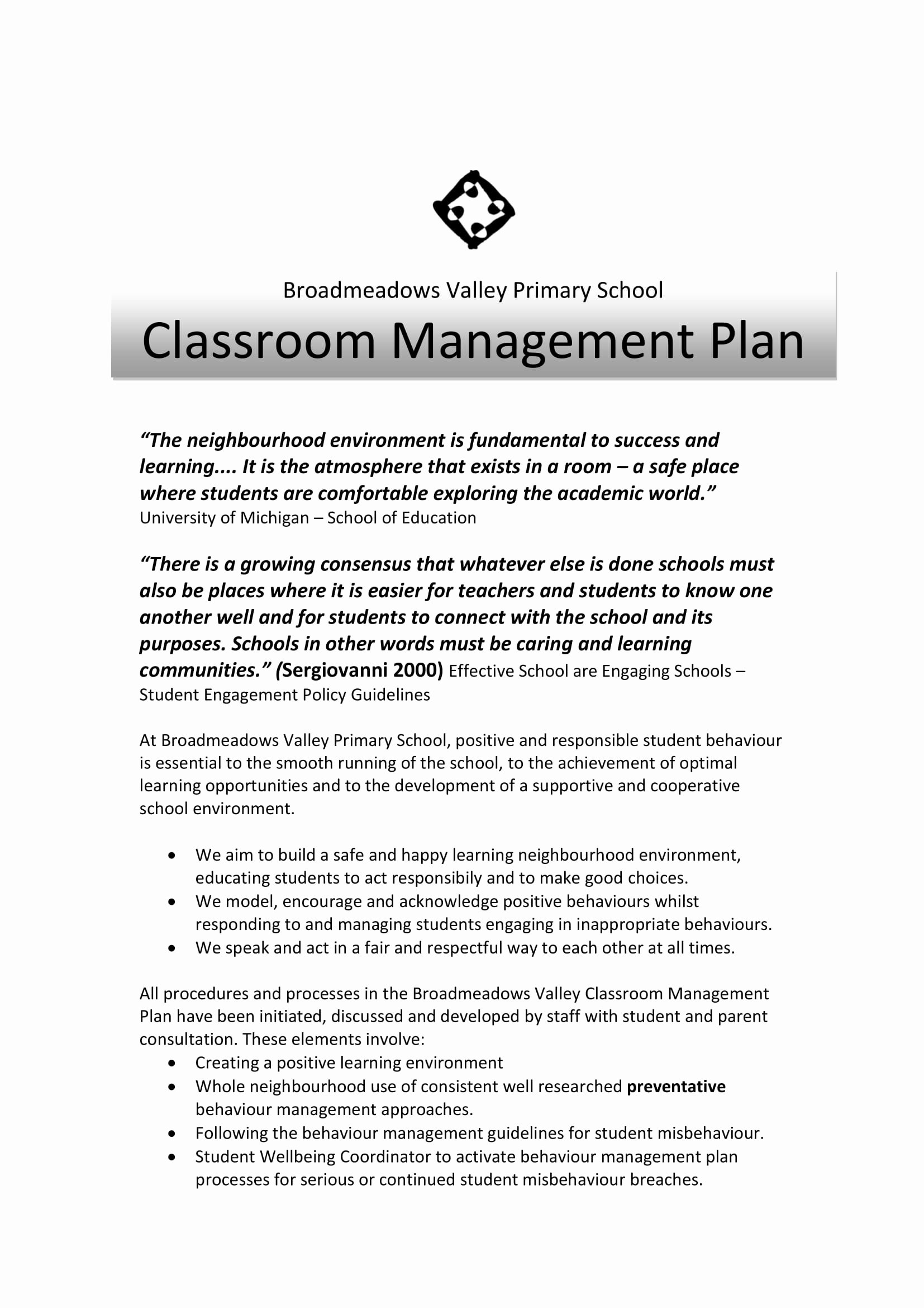 Classroom Management Plan Template Elementary Lovely 9 Effective Classroom Management Plan Examples Pdf
