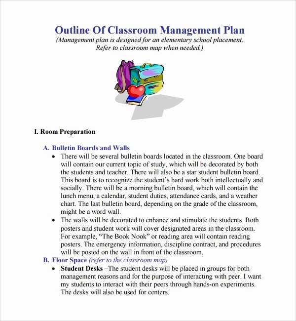 Classroom Management Plan Template Elementary New Sample Classroom Management Plan Template 12 Free