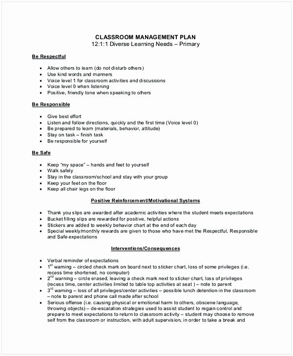 Classroom Management Plan Template Elementary Unique Sample Classroom Management Plan