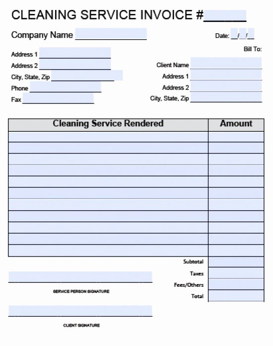 Cleaning Services Invoice Template Awesome House Cleaning Invoice