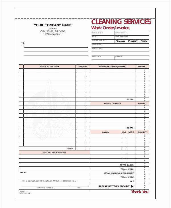 Cleaning Services Invoice Template Awesome Pany Invoice Template 7 Free Word Excel Pdf
