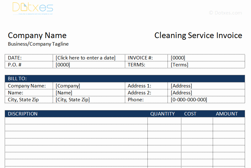 Cleaning Services Invoice Template Beautiful Cleaning Service Invoice Template Dotxes