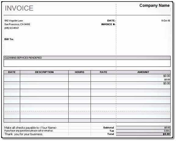 Cleaning Services Invoice Template Best Of Cleaning Services Invoice Open Fice Calc – Word & Excel