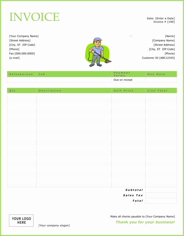Cleaning Services Invoice Template Best Of House Cleaning Free House Cleaning Invoice Templates
