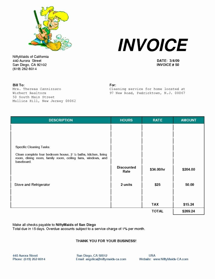Cleaning Services Invoice Template Elegant Cleaning Bill Invoice Services Invoice