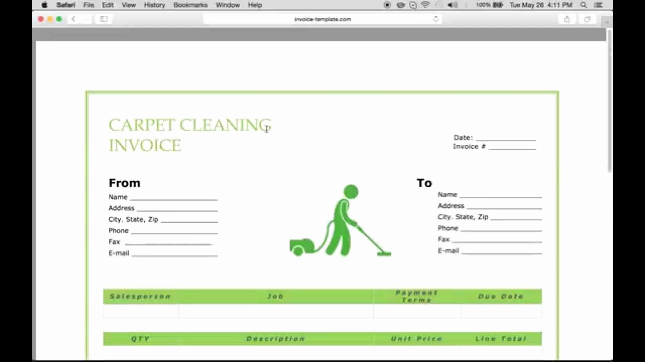 Cleaning Services Invoice Template Fresh Carpet Cleaning Invoice