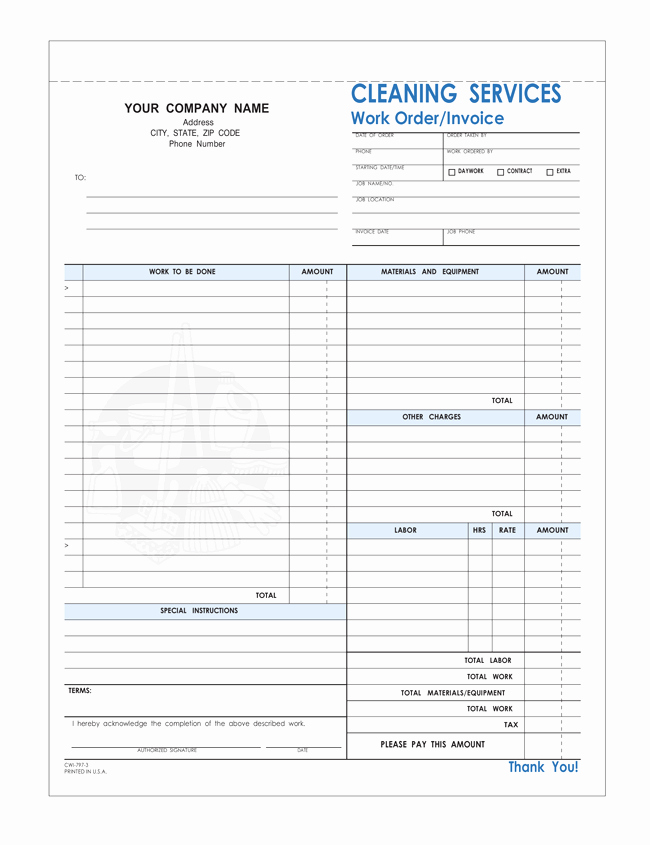 Cleaning Services Invoice Template Luxury Free Printable Cleaning Service Invoice Templates 10