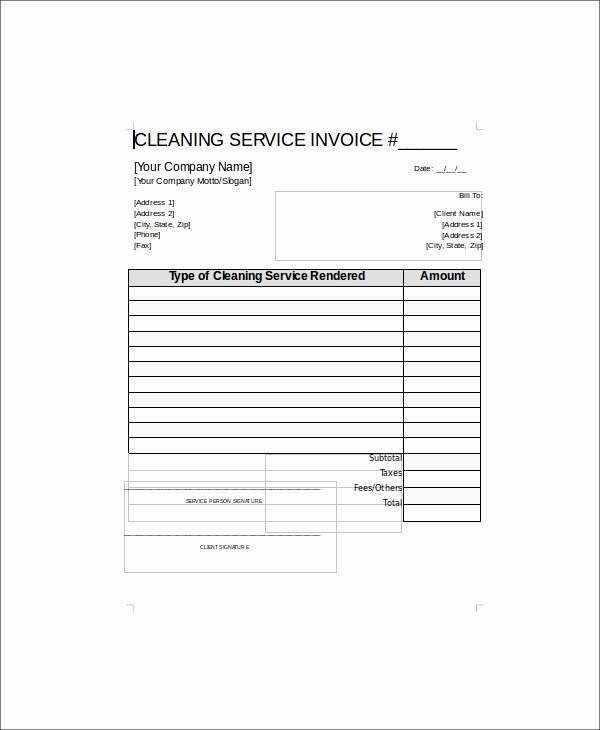 Cleaning Services Invoice Template Luxury Sample Cleaning Service Receipt 5 Examples In Word Pdf