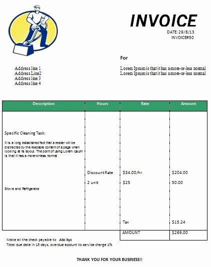 Cleaning Services Invoice Template New Cleaning Invoice form Printable