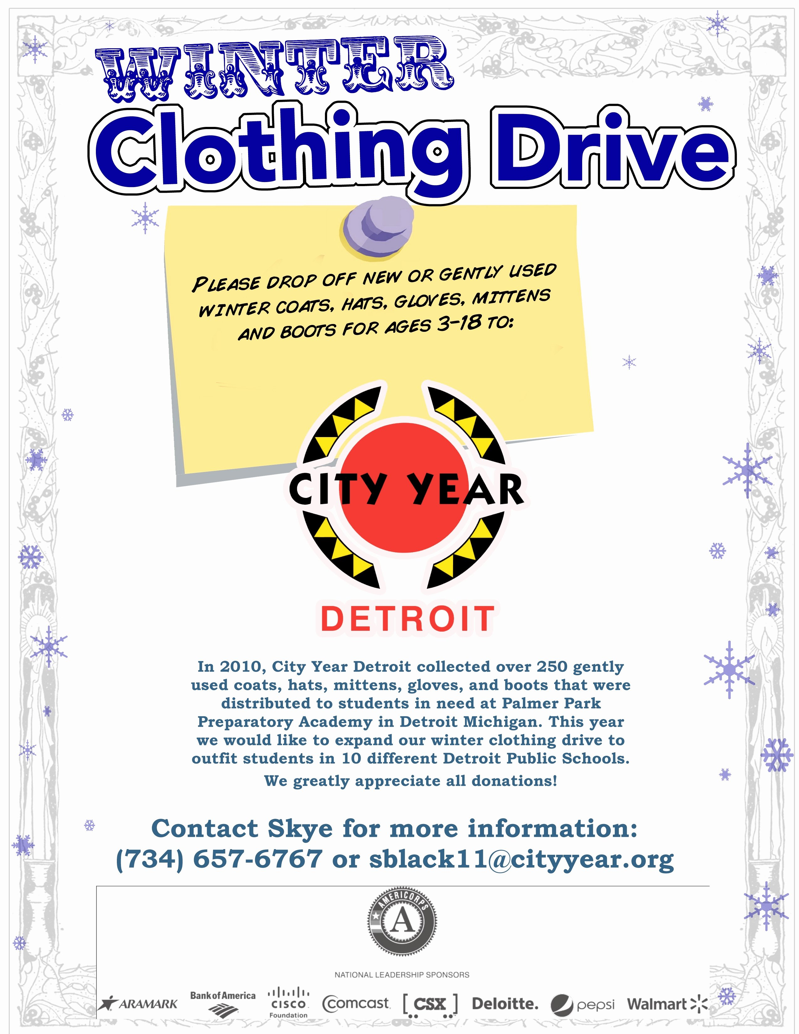 Clothing Drive Flyer Template Elegant City Year Detroit Winter Clothing Drive