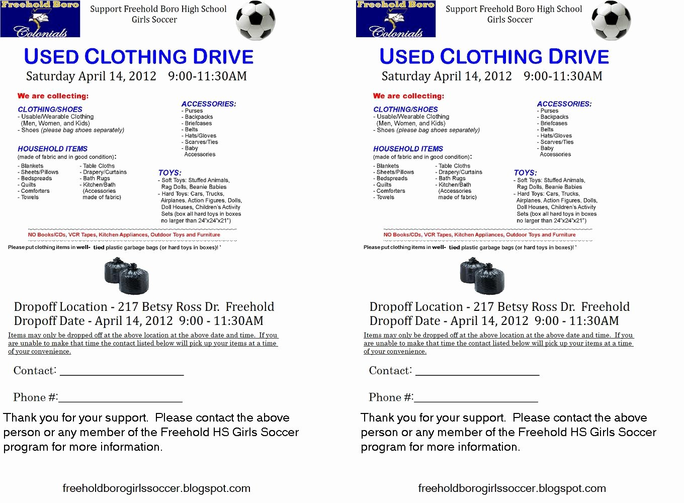 Clothing Drive Flyer Template Lovely Freehold Boro Hs Girls soccer March 2012