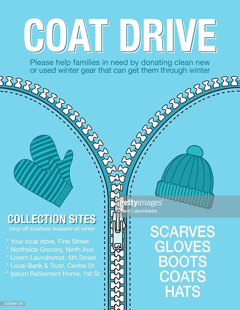 Clothing Drive Flyer Template Luxury Winter Coat Drive Charity Poster Template Vector Art
