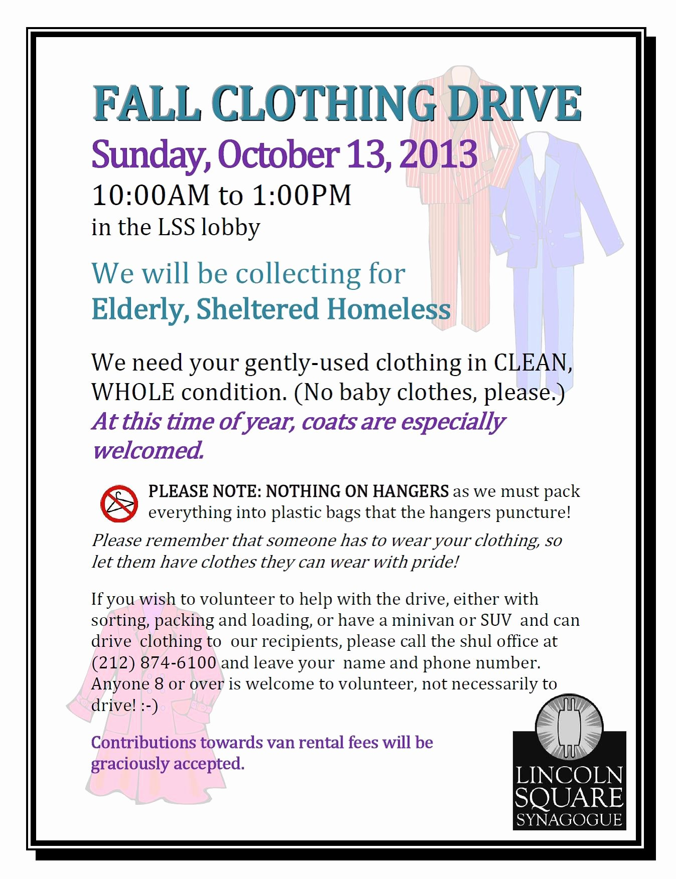 Clothing Drive Flyer Template Unique Fall Clothing Drive event Lincoln Square Synagogue