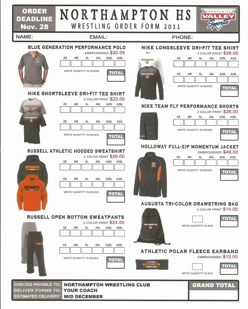 Clothing order form Template Awesome order form Spirit Wear