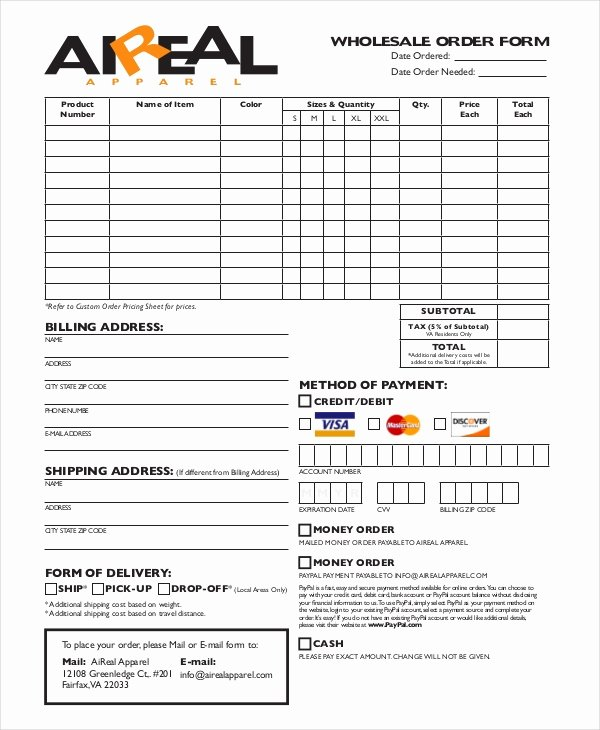 Clothing order form Template Beautiful 12 Apparel order forms Free Sample Example format