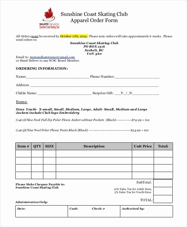 Clothing order form Template Elegant 12 Apparel order forms Free Sample Example format