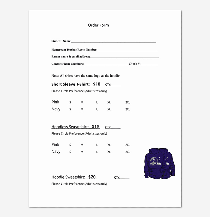 Clothing order form Template Elegant T Shirt order form Template 17 Word Excel Pdf