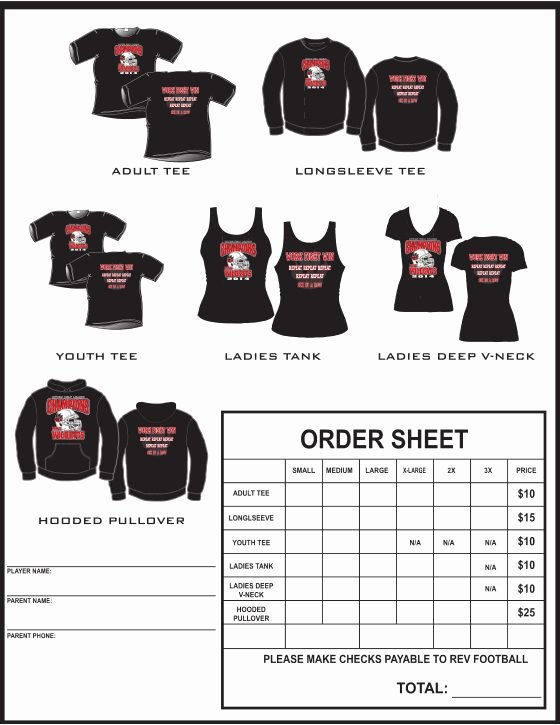 Clothing order form Template Fresh Example T Shirt order form Google Search