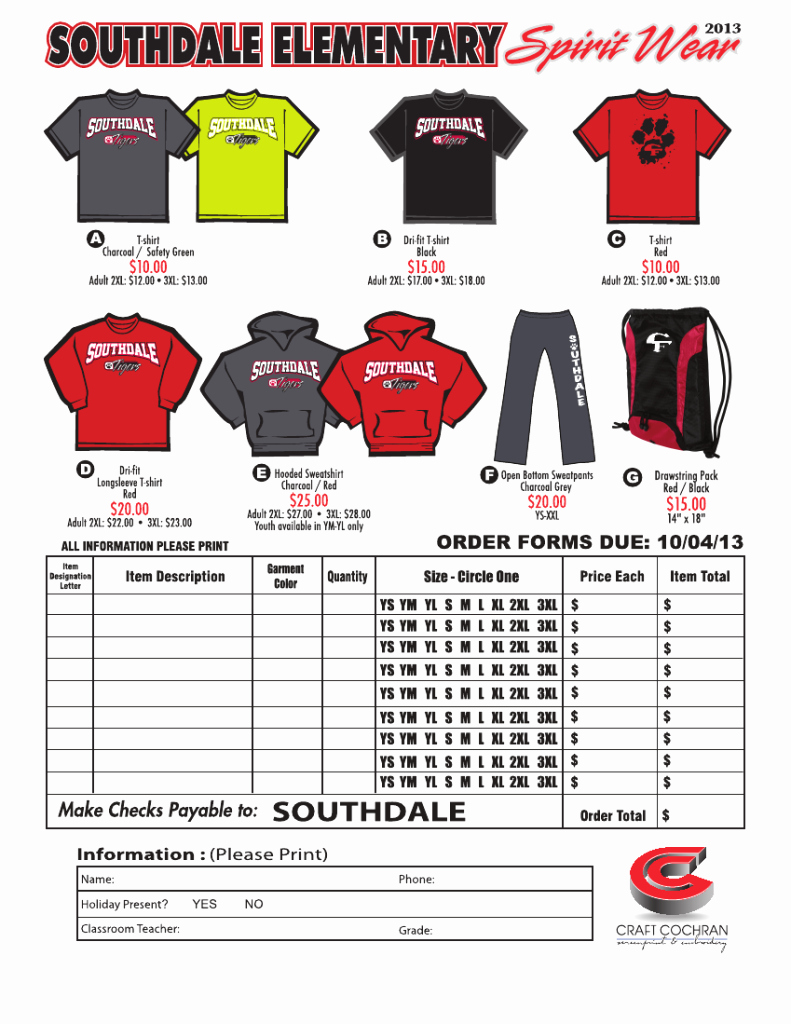 Clothing order form Template Inspirational Booster Clubs