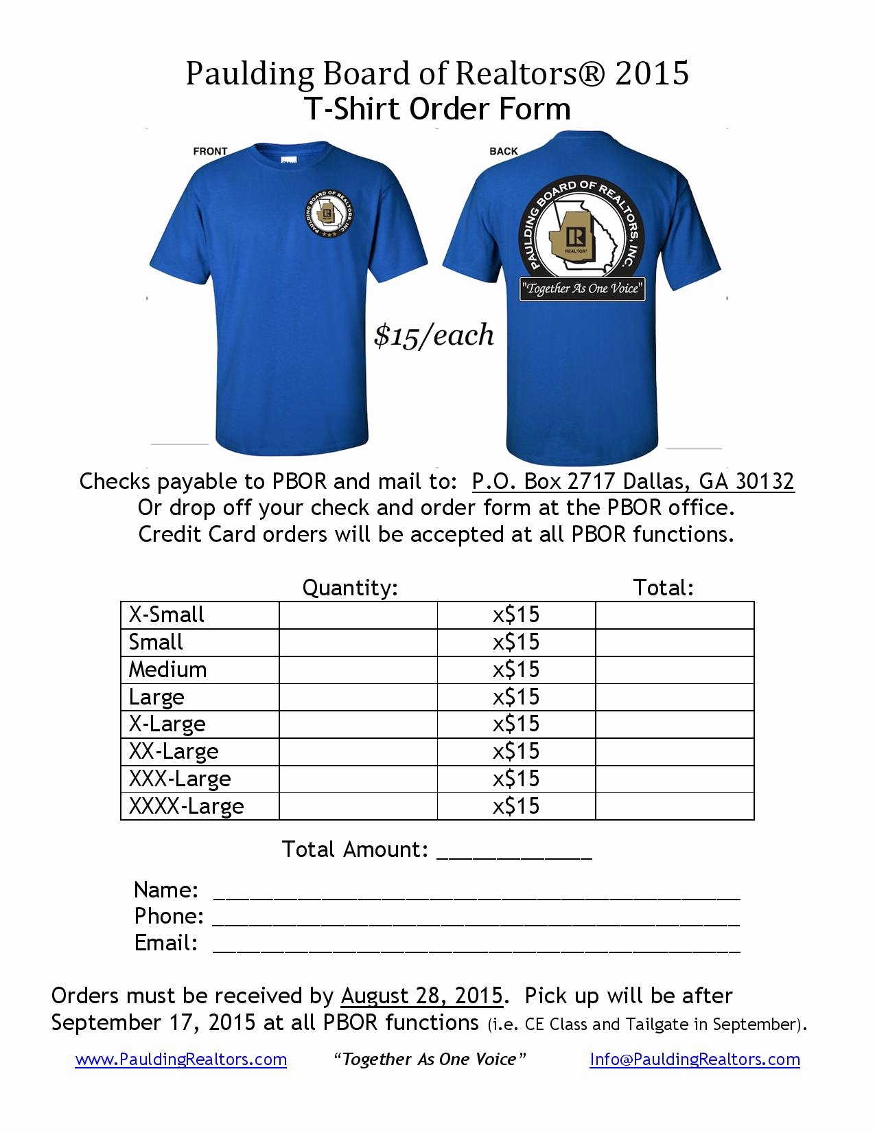 "Clothing order form Template Lovely Wel E to the Paulding Board Realtors — ""to Her as"