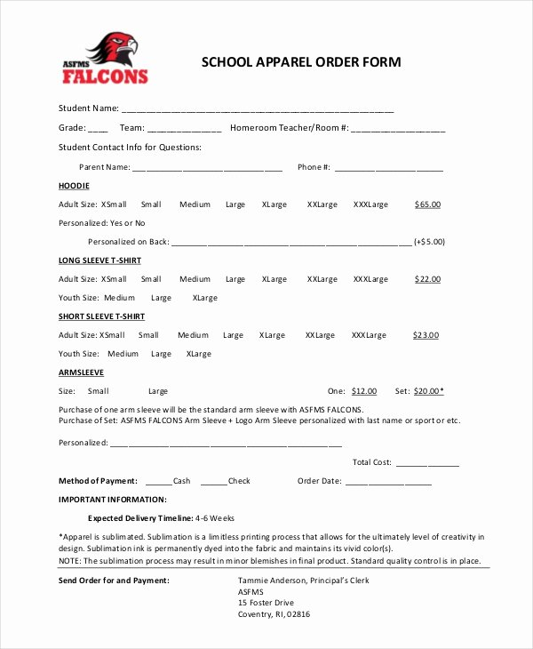 Clothing order form Template New 12 Apparel order forms Free Sample Example format