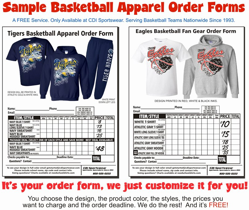 Clothing order forms Templates Beautiful Start Here