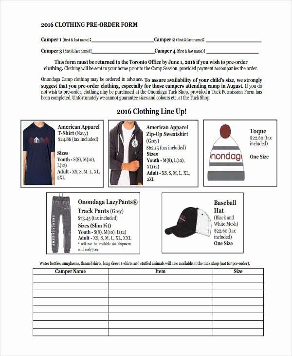 Clothing order forms Templates Elegant 9 Clothing order forms Free Samples Examples format