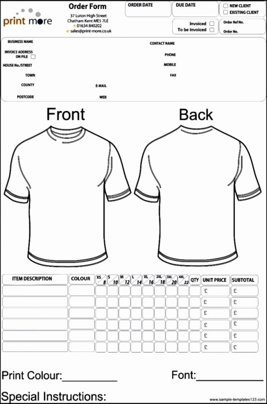 Clothing order forms Templates Fresh Apparel order form Template