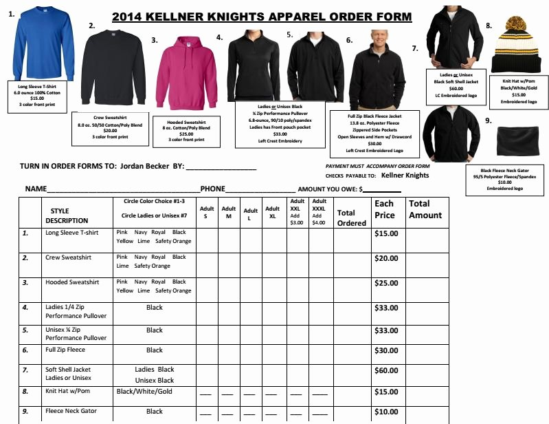 Clothing order forms Templates Inspirational Clothing Kellner Knights Snowmobile Clubkellner Knights