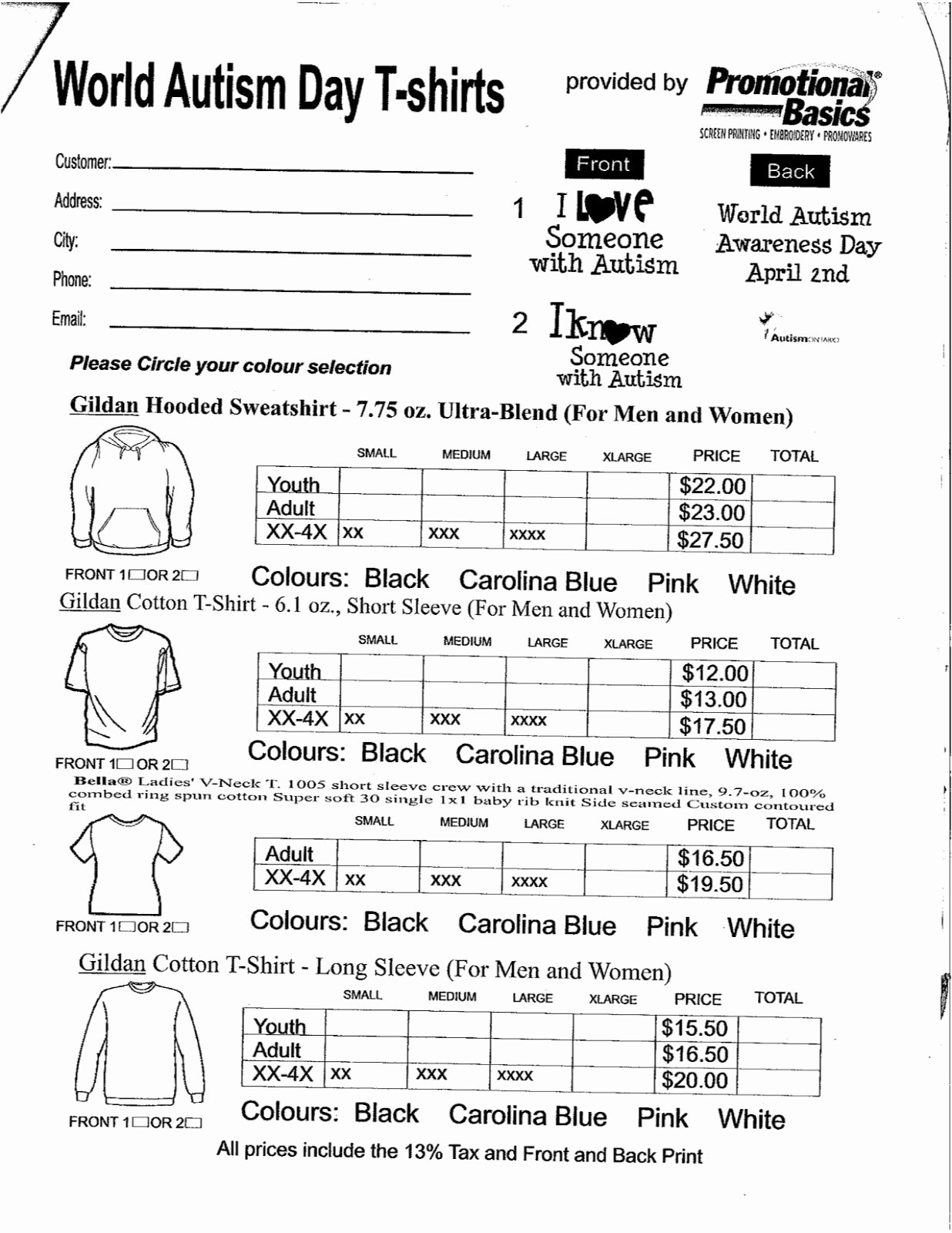 Clothing order forms Templates Lovely Spirit Wear form Pta