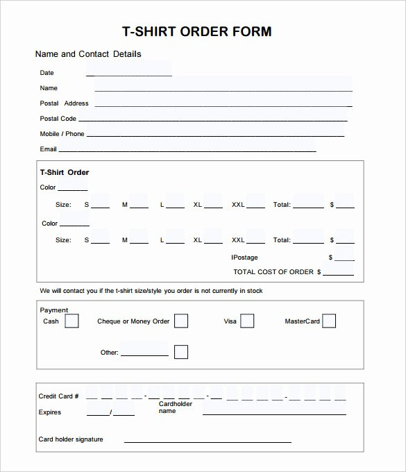 Clothing order forms Templates Lovely T Shirt order form Template