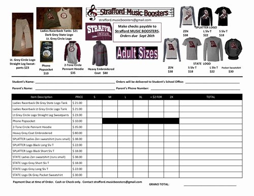 Clothing order forms Templates Luxury Music Booster S Strafford Apparel order Strafford