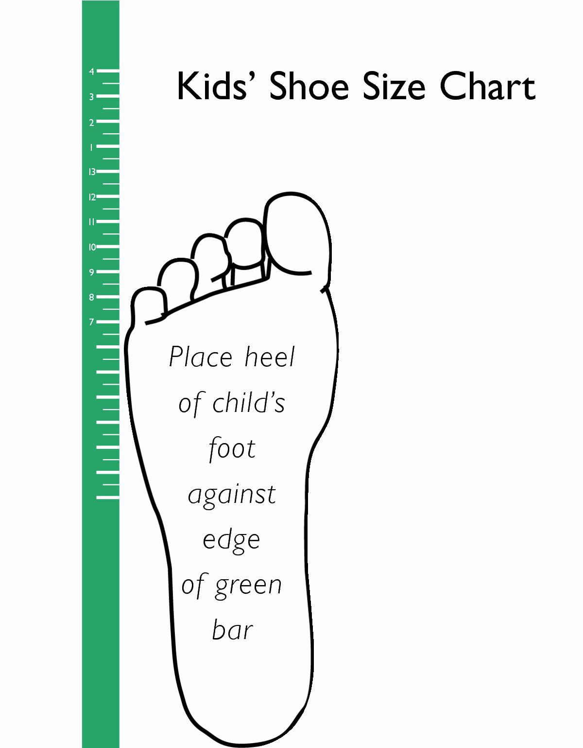 Clothing Size Chart Template Beautiful Printable Kids Shoe Size Chart