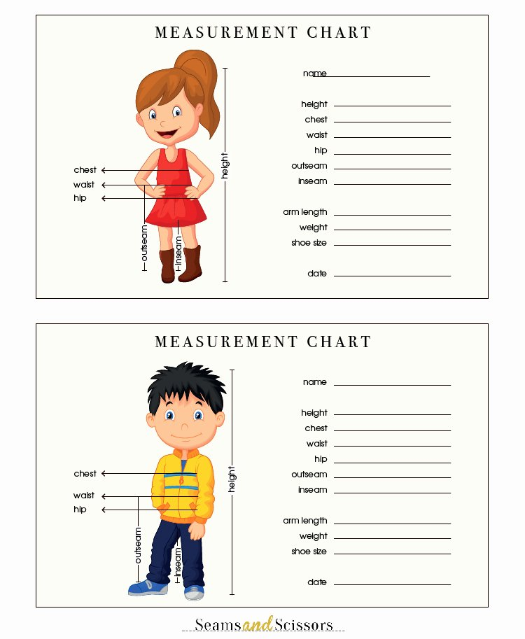Clothing Size Chart Template Best Of How to Take Body Measurements Free Printable Size Chart