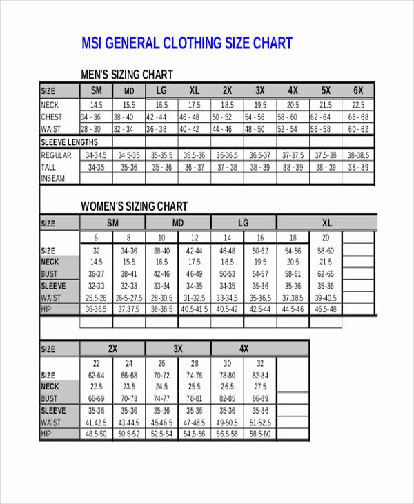 Clothing Size Chart Template Fresh 11 Size Chart Free Sample Example format Download