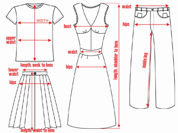 Clothing Size Chart Template Inspirational Measurements Sizes