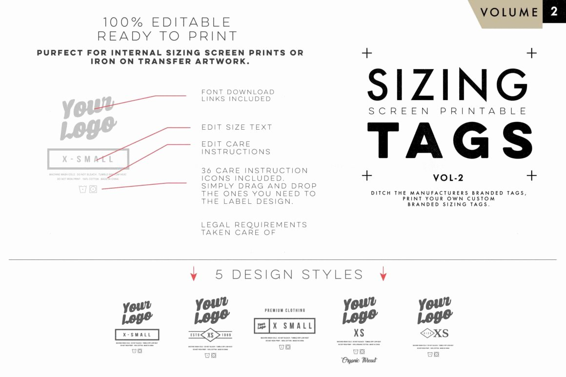 Clothing Size Chart Template Inspirational Screen Print Apparel Sizing Tag Templates Vol2