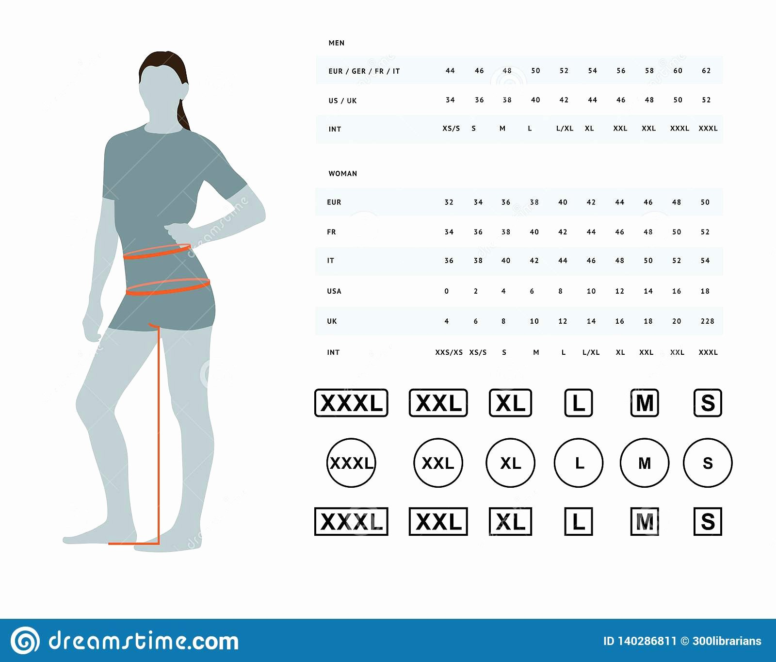 Clothing Size Chart Template Lovely Size Chart for Women Stock Vector Illustration Of Body