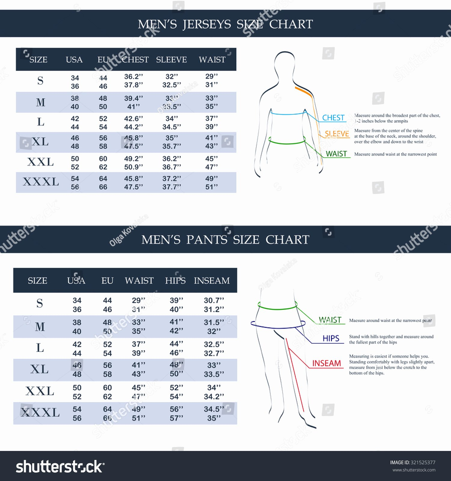 Clothing Size Chart Template New Men S Jerseys Size Chart Men S Pants Size Chart