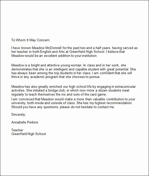 College Admission Recommendation Letter Template Awesome Re Mendation Letter for College Template Resume Builder