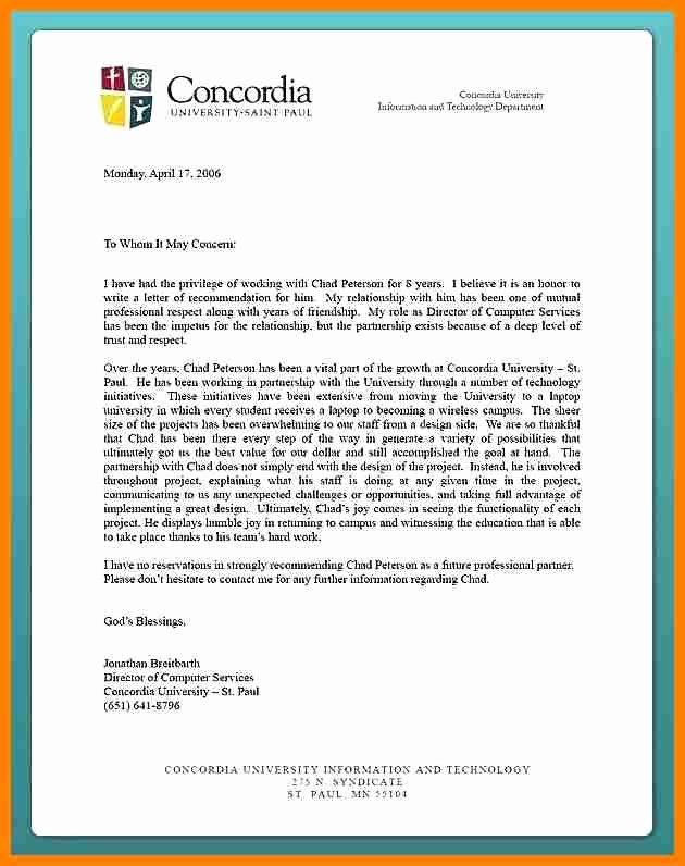 College Admission Recommendation Letter Template Inspirational 12 Letter Of Re Mendation for University Admission