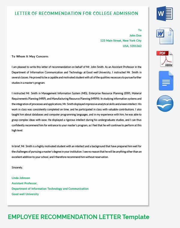 College Admission Recommendation Letter Template Inspirational 20 Employee Re Mendation Letter Templates
