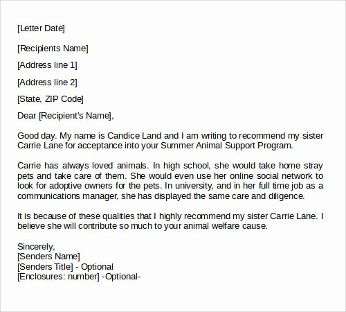 College Admission Recommendation Letter Template Inspirational 28 Letter Of Re Mendation In Word Samples