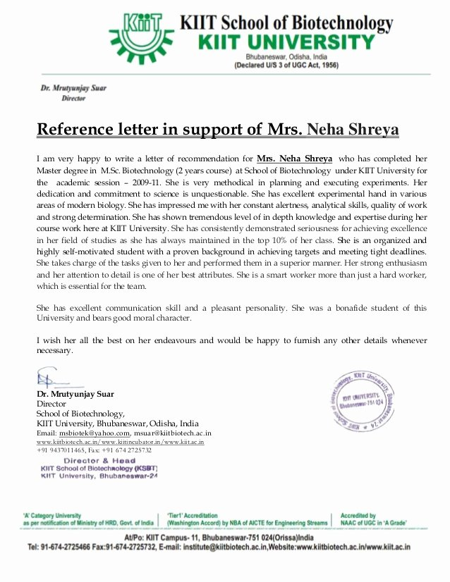 College Admission Recommendation Letter Template Luxury Re Mendation Letter Mrutyunjay Suar Sir Kiit University