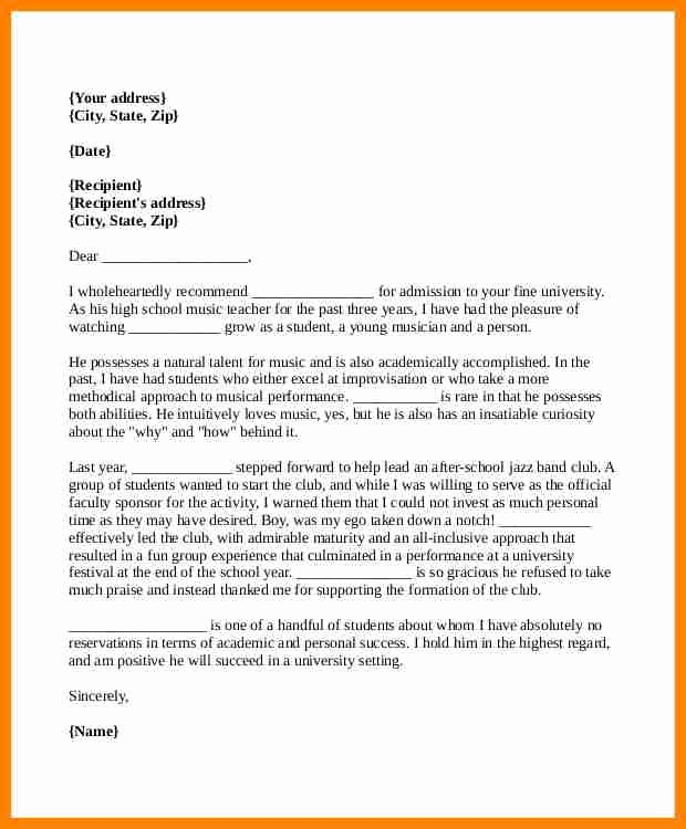 College Admission Recommendation Letter Template Unique 5 Re Mendation Letter format for College Admission