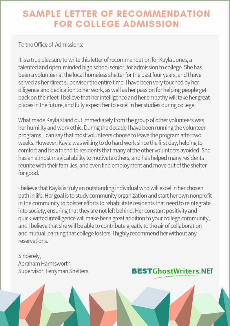 College Admission Recommendation Letter Template Unique Re Mendation Letter for Admission